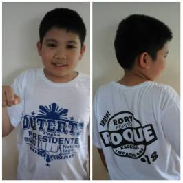 Wearing his Duterte and Roque t-shirt