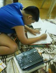 Doing schoolwork