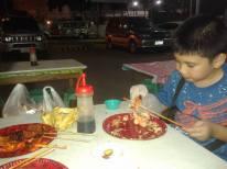 Eating at a roadside cafe